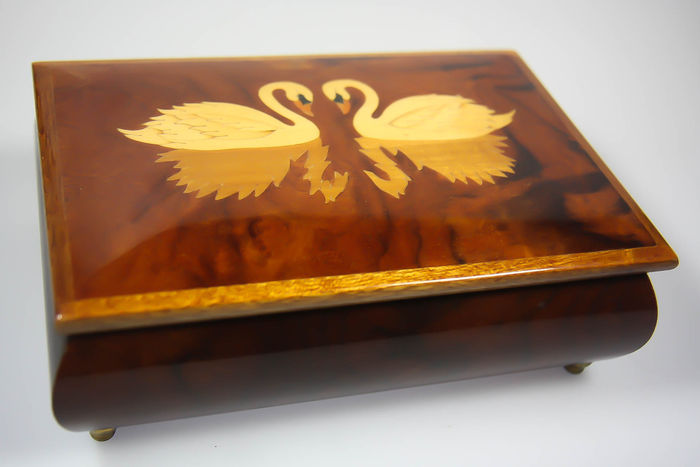 Box inlaid with wooden swans, Reuge music box Reuge