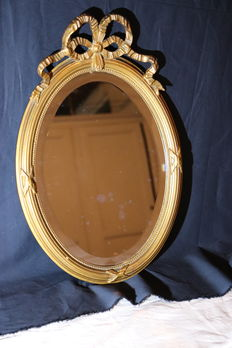 Mirror with wooden decorations in Louis XVI style, late 20th century
