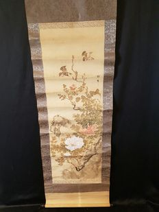 Scroll painting with peonies and sparrows – Japan – 19th century