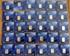 30 gold bars - Nadir PIM - 0.10 grams of fine gold each - purity 999.9/1000 gold bar - 24 carats - LBMA certified