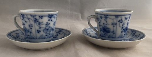 Gebr. Schoenau, Swaine & Co - Two antique cups and saucers, decor Indian blue
