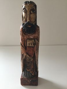 Wooden polychrome statue - probably period around XVIII th century.