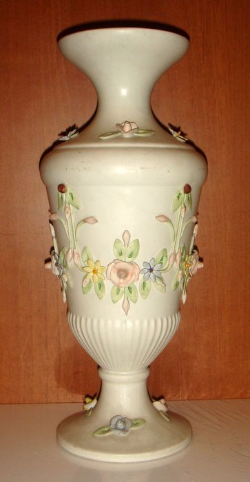 Large Ceramic Vase Branded Capodimonte With Date Signature And