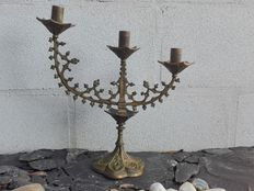 Batch of a chandelier and 2 bronze candle holders - End of 19th century