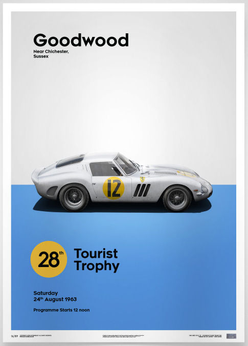 Ferrari Collection fine art print - Ferrari 250 GTO - Goodwood - Giotto Bizzarrini team - White 1963  - 70 x 50 cm