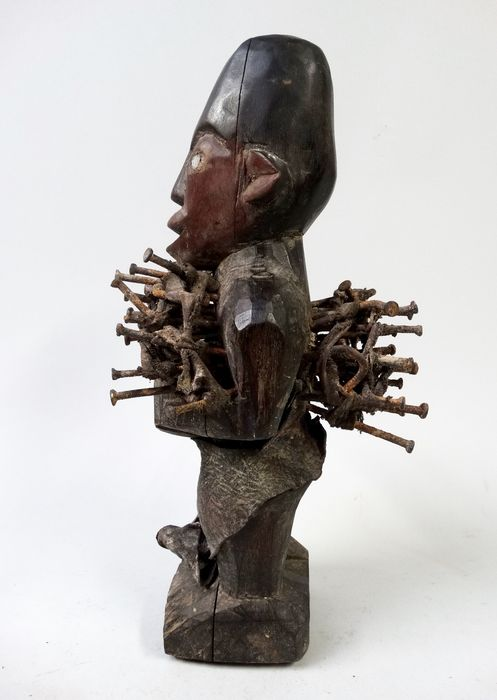 African nail fetish figure nkisi from the Bacongo tribe living in D.R. Congo