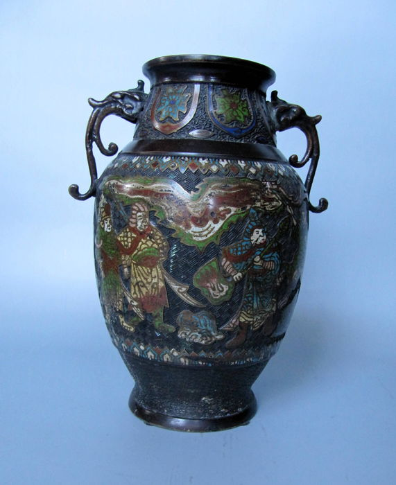 Bronze And Champlev Vase With Floral Scene And Elephantfantastic