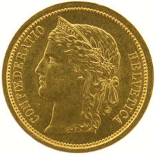 Switzerland - 20 francs 1886 Crowned Head - gold