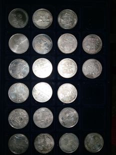 Portugal - 21 Silver Coins, 1,000 Escudos (face value) - 1994, 1995, 1996, 1997, 1998 - Lisbon