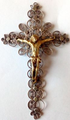 Silver, embossed Cross with bronze Christ - Beginning of the 20th c.