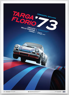 Porsche Collection fine art print - Porsche 911 RSR #8 – Targa Florio 1973 - 70 x 50 cm