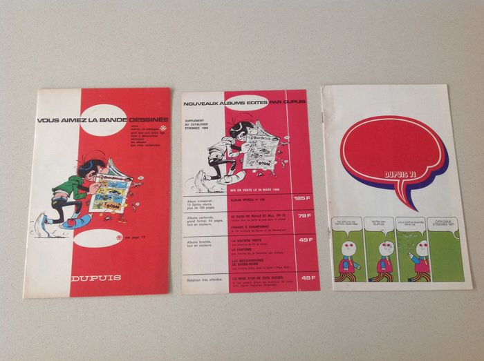 Dupuis - 2 French-language comic back-issues catalogues + Supplement - 3x softcover (1969/1971)