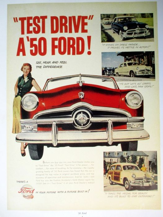 Forty original sheets - Advertisements - 1950s American cars / 4 classic car postcards / 5 photographs of classic posters