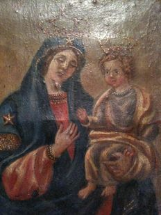 Oil on canvas, miniature of a Crowned Madonna and Child, Florence, Italy, 1850
