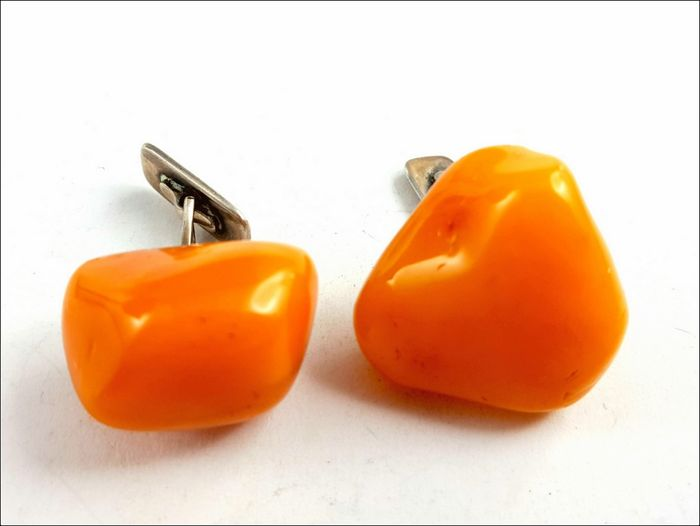 Antique silver cufflinks, amber butterscotch