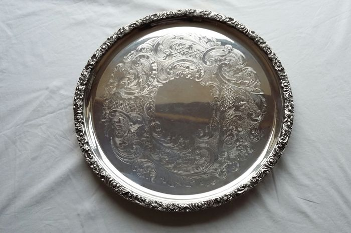 E. H. Parkin & Co, 1919, Ornate, Silver plated, Chased Tray, Made in Sheffield, England
