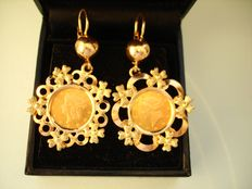 Antique (1920s)  – 18k Solid Gold Earrings with 21.6k Gold 1 US$ Coins - Pristine