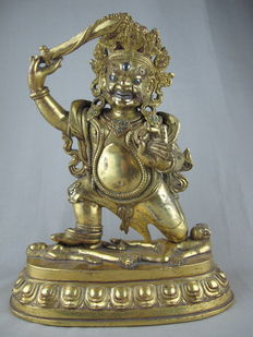 Large, fire gilded bronze Acala – Tibet – 19th century.