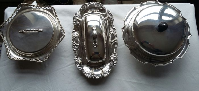 2 James Dixon & Son, 1881, Silver plated Serving Dishes & 1 Yeoman, 1897, Silver plated Serving Dish