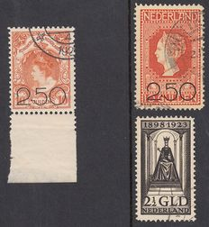 The Netherlands, 1920-1923, clearance issue and government anniversary, NVPH 104/105 + 130