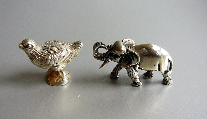 Two silver miniatures: chick and elephant, Netherlands, 2nd half of 20th century