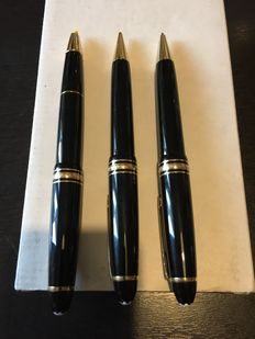 MONTBLANC large Masterstuc, ballpoint pen, pencil and highlighter with original box in leather like new hardly used, only collected.