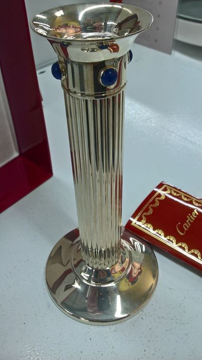 Cartier candlestick made of silver and lapis lazuli, France, 21st century