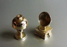 Two silver miniatures, little lamp and record player, 2nd half of the 20th century