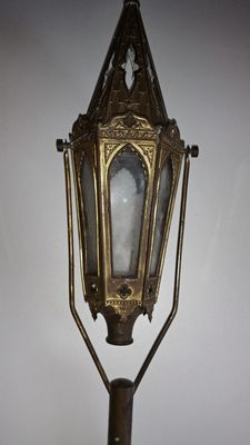 Magnificent antique processional lantern - brass - church