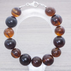 Bracelet composed of Baltic amber beads colour cherry and coffee with blue tones.