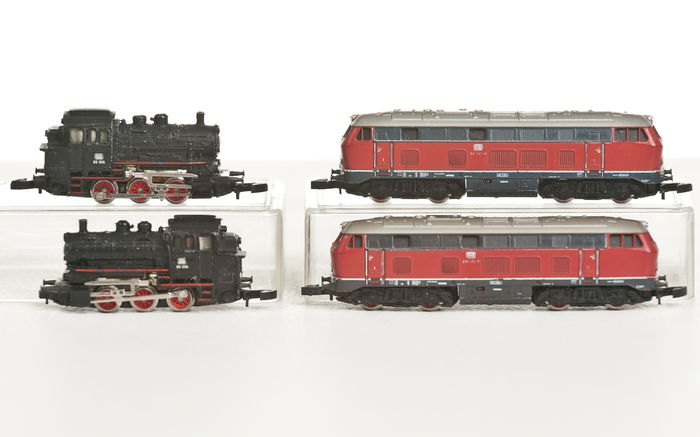 Märklin Z - 8875/8800 - 4 locomotives for hobbyists:  2x BR216 kaj 2x BR89 of the DB