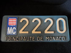 Principality of Monaco - License plate, blue and white - metal and plastic - 1971