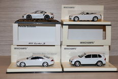 Minichamps - Scale 1/43 - Lot with 4 models: 2 x Porsche, 1 x Mercedes CLS, 1 x Bentley Continental GTC