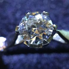 18 kt white gold solitaire ring, with 0.50 ct brilliant cut diamond.