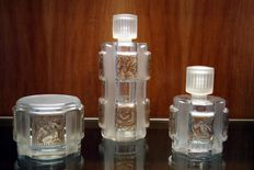 Lalique, France - toiletries, perfume set, Helene, 3 pieces, glass
