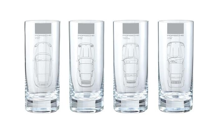 Porsche Long drink glass set - Porsche 911 models: 991 [2011], 993 [1993], G-model [1973 , 901 [1963].
