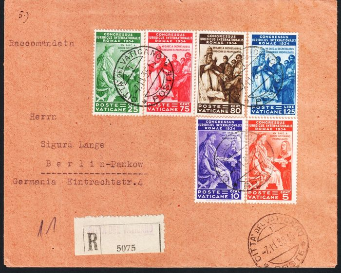 Vatican 1935 1936 Lot Composed Of Legal Congress Series On Registered Mail For