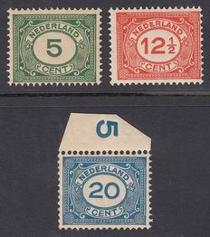 "The Netherlands 1921 – Number type ""Vürtheim"" with ""mirror print"" – NVPH 107/109"