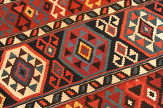 MAGNIFICENT HANDWOVEN KELIM, CAUCASUS, ANTIQUE! Approx. 328 x 198 cm