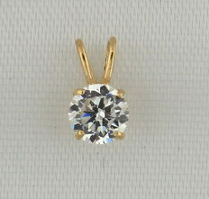 Yellow gold solitaire pendant with a crystal stone - 9 mm