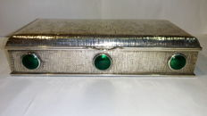 Silver with green agate jewellery box - Art Deco