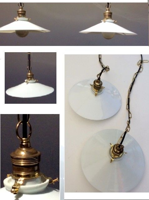 A coupe of antique opaline lamps - Belgium - ca 1930
