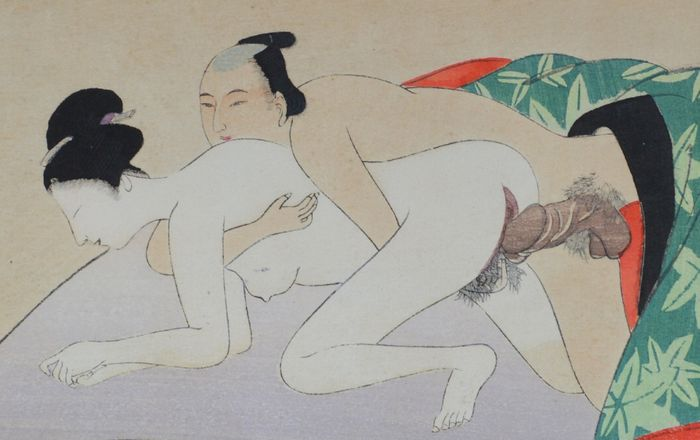 Erotic woodcut, Shunga. Attributed to Tomioka Eisen – Japan – Around 1899