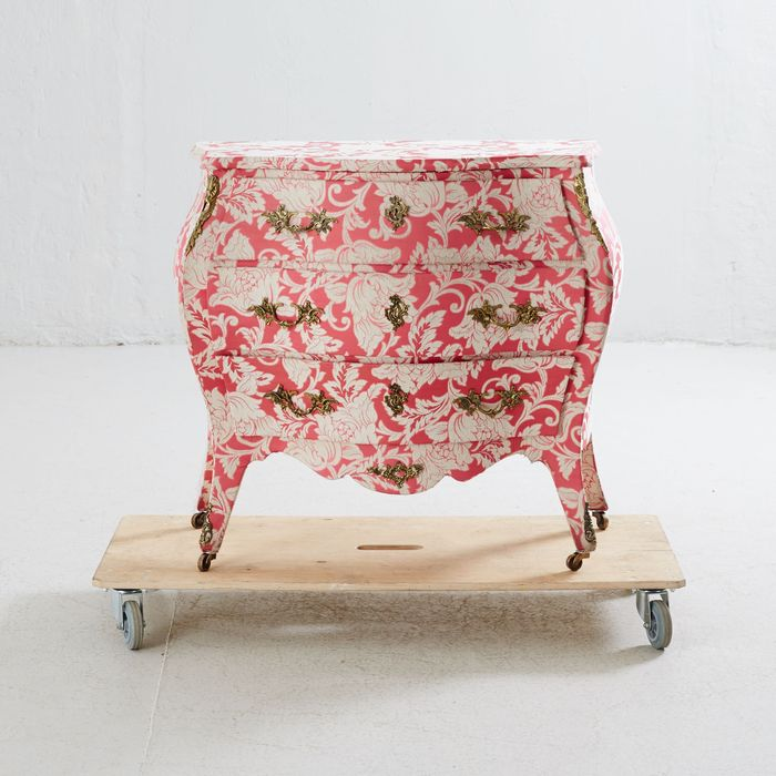 A rococo style chest of drawers covered in fabric, Sweden, mid 20th century and later