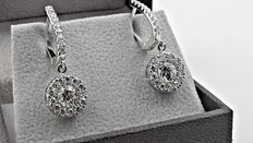 IGL 2.78 ct round diamond earrings 14 kt white gold