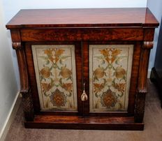 Regency flame mahogany and tapestry chiffonier