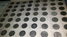 Switzerland – Lot of 56 x 1 Franc coins, from 1880 to 1973