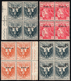 "Italian Colonies, Somalia, 1916—Red Cross—complete series in 4-stamp blocks ""Quartine"""