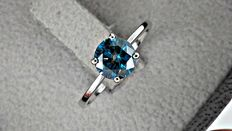 1.02 ct Fancy  Blue round diamond ring in 14 kt white gold +++ no reserve price +++
