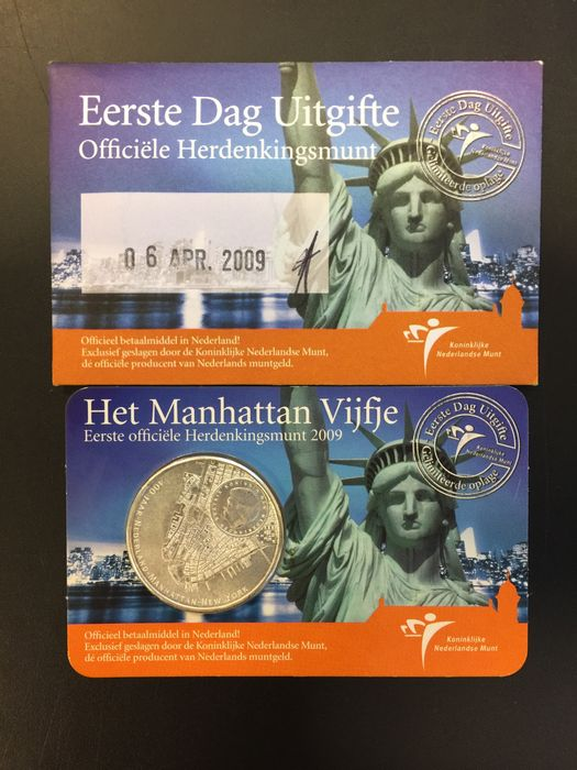 The Netherlands - Coincard 2009 Manhattan fiver 'FDC' 0542